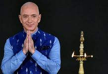 Amazon CEO Jeff Bezos greets during the Amazon SMBhav summit, at Jawahar Lal Nehru Stadium in New Delhi on Wednesday. | ANI