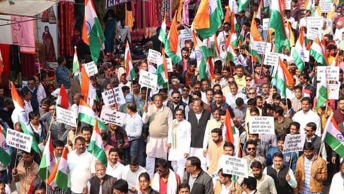 BJP supporters and leaders taking out a procession in support of the Citizenship (Amendment) Act (CAA) | Twitter