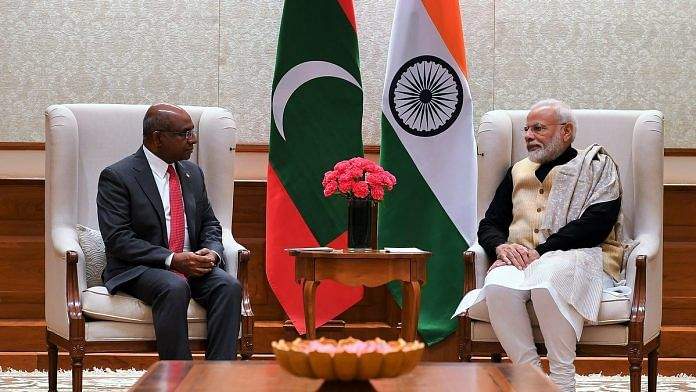 Minister of Foreign Affairs of Maldives Abdulla Shahid calls on Prime Minister Narendra Modi in New Delhi on Friday. | ANI