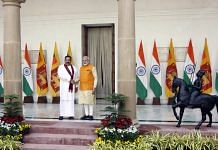 Mahinda Rajapaksa with Narendra Modi at Hyderabad House | Photo: Praveen Jain | ThePrint
