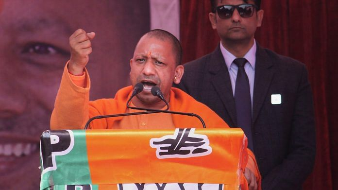 Uttar Pradesh Chief Minister Yogi Adityanath addresses an election campaign meeting in support of BJP candidates for the upcoming Delhi Assembly elections, at Jahangir Puri, in New Delhi. | PTI