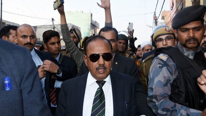 NSA Ajit Doval during his visit to the violence-hit areas in northeast Delhi on 26 February