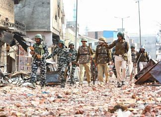 Delhi Police patrol the northeast district where riots broke out in February. At least 53 people had died in the violence   Suraj Singh Bisht   ThePrint