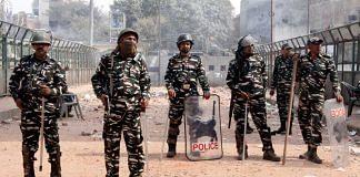 Delhi Police personnel on duty at Mustafabad on 25 February 2020   Praveen Jain   ThePrint