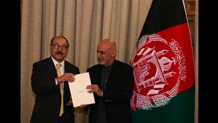 Foreign secretary Harsh Shringla and Afghanistan President Ashraf Ghani   Twitter   @MEAIndia