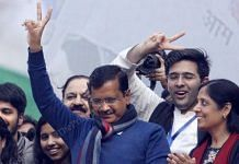 Kejriwal celebrates his party's victory in the assembly elections : Photo: Suraj Singh Bisht | ThePrint