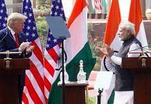 US President Donald Trump and Prime Minister Narendra Modi at the press meet at Hyderabad House on 25 February 2020 | Praveen Jain | ThePrint