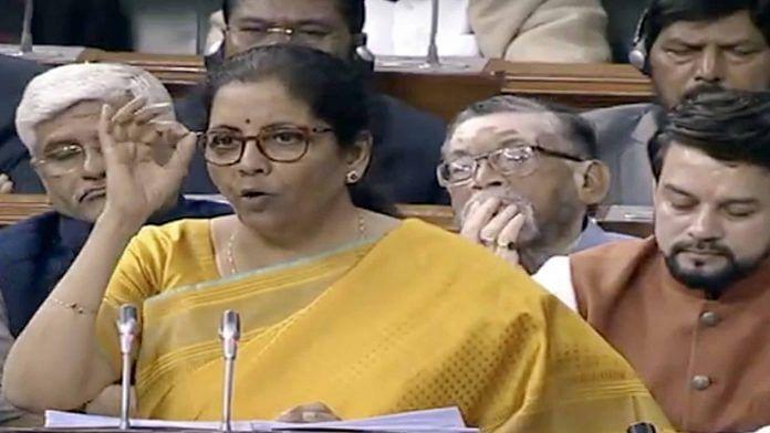 Finance Minister Nirmala Sitharaman presenting the Union Budget