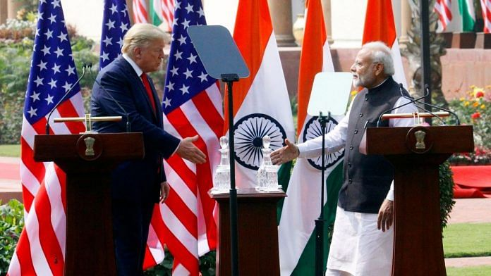 US President Donald Trump and Prime Minister issued a joint press statement after their meeting at Hyderabad House. | Photo: Praveen Jain| ThePrint