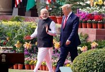 File photo of Prime Minister Narendra Modi with US President Donald Trump at Hyderabad House | Praveen Jain | ThePrint
