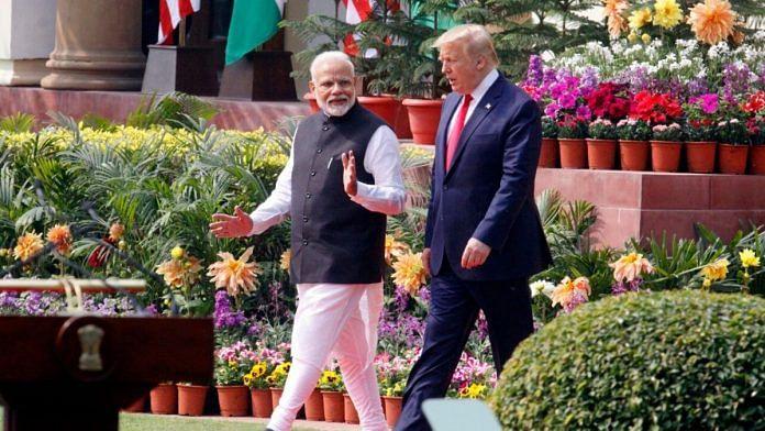 File photo of Prime Minister Narendra Modi with US President Donald Trump at Hyderabad House | Praveen Jain | ThePrint