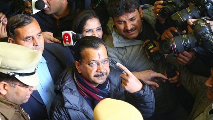 Arvind Kejriwal after voting in Delhi Assembly polls | Suraj Singh Bisht | ThePrint