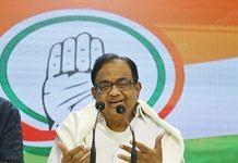 Senior Congress leader P Chidambaram at a press conference in New Delhi | Manisha Mondal | ThePrint