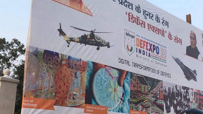 A picture of the UP government's posters for DefExpo 2020 featuring a Turkish made chopper.   Photo: Twitter/@zone5aviation