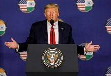 US President Donald Trump at his press briefing in New Delhi Tuesday
