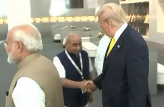 Trump shakes hands with an official before Namaste Trump event | Photo: Screen shot | ThePrint