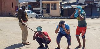 Amritsar Police punish offenders for flouting the lockdown guidelines, on the first day of the 21-day nationwide lockdown on 25 March | PTI
