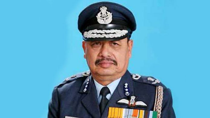 A file photo of Retd. Air Marshal Anjan Kumar Gogoi. } Photo: Twitter/IAF