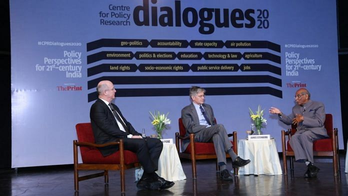 Frank N Pieke, Professor at Leiden University, James Steinberg, former US Deputy Secretary of State and Shyam Saran, former foreign secretary at the CPR Dialogues 2020 in New Delhi on 2 March | CPR Dialogues