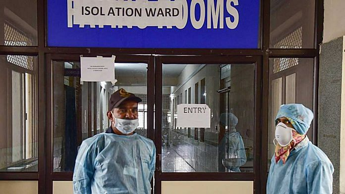 Medics outside an isolation ward of coronavirus at Gandhi Hospital in Hyderabad, on 2 March 2020   PTI