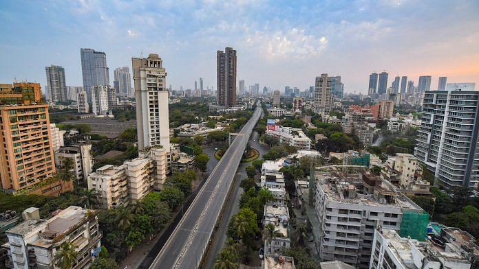 An aerial view of Mumbai during nation-wide lockdown in wake of coronavirus pandemic, 25 March | PTI