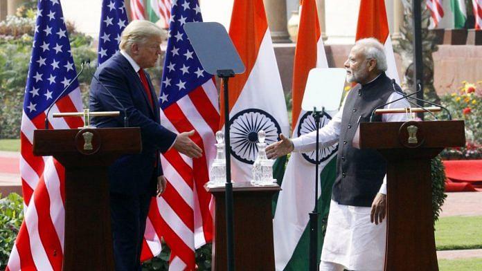 US President Donald Trump and PM Narendra Modi at Hyderabad House | Photo: Praveen Jain | ThePrint