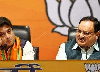 Jyotiraditya Scindia and J.P. Nadda at the BJP headquarters   Suraj Singh Bisht   ThePrint