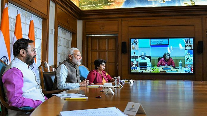 File photo| PM Modi interacts with journalists and stakeholders from the print media on tackling COVID-2019, in New Delhi, March 24 | PTI