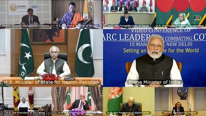A composite image showing PM Narendra Modi and leaders from the SAARC nations during a video conference on Covid-19 on 15 March | Photo: ANI