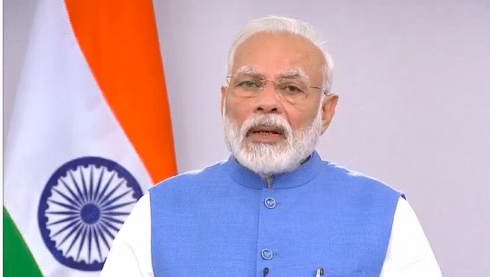 Prime Minister Narendra Modi addressing the nation on the issue of coronavirus | Screengrab