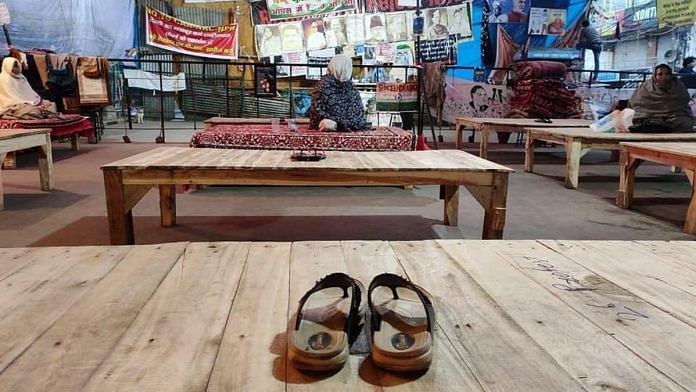 Protesters have left footwear on the benches at Shaheen Bagh to mark Sunday's janata curfew | Photo: By special arrangement
