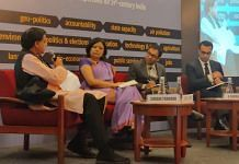 Tharoor (left) speaks at Centre for Policy Research Dialogues 2020 | Photo: Urjita Bhardwaj | ThePrint
