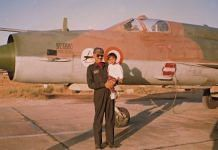 Sqn Ldr Arjun Subramaniam with his daughter Shruti next to a MiG-21 Type 96 from No 37 Squadron | Source: Arjun Subramaniam