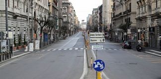 Representational image of a street in Naples that is empty due to the lockdown | ANI via Reuters