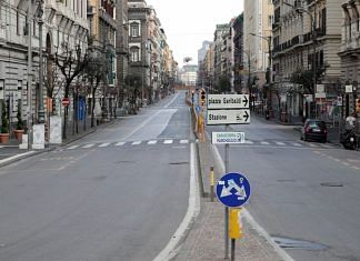An empty Corso Umberto street, on the sixth day of an unprecedented lockdown in Italy imposed to slow the outbreak of coronavirus in Naples Sunday | ANI vie Reuters