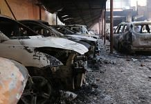 Cars torched during Delhi riots in Shivpuri | Photo: Manisha Mondal | ThePrint