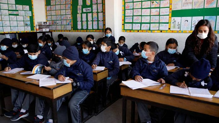 Representational image of school children wearing masks | Photo: ANI via Reuters