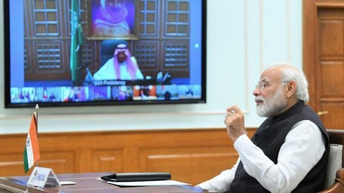 Prime Minister Narendra Modi participating in the G20 summit via video conferencing | www.narendramodi.in