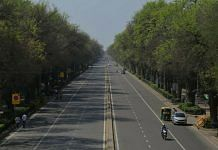A deserted road in Delhi on the first day of total lockdown Monday | Photo: Manisha Mondal | ThePrint