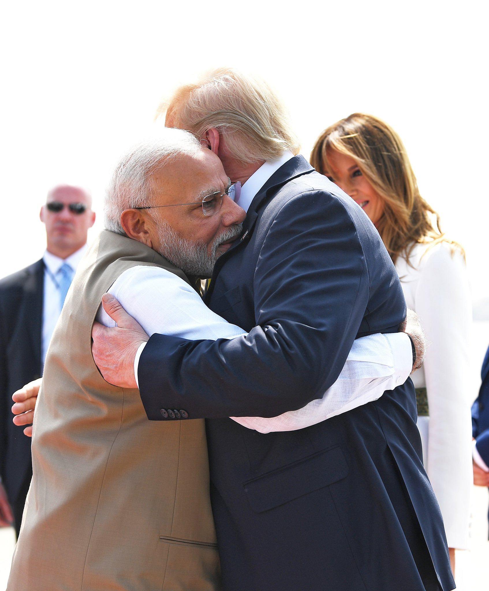 PM Narendra Modi hugs Donald Trump at Ahmedabad airport | Photo: @narendramodi | Twitter