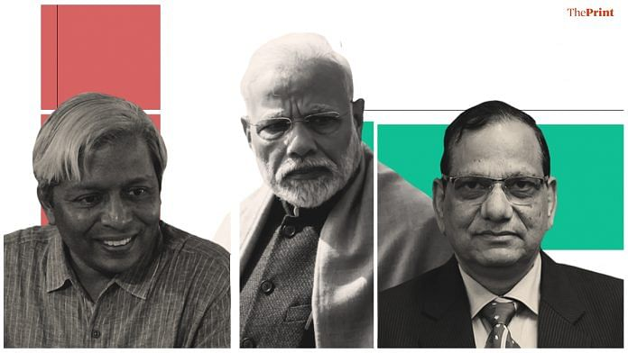 A picture of Prime Minister Narendra Modi (centre) and the two leaders of his groups to fight coronavirus - Niti Aayog member Dr V.K. Paul (right) and principal scientific advisor to the PM, K. VijayRaghavan. Illustration: Soham Sen/ThePrint