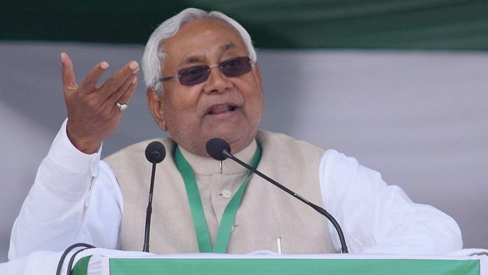Janata Dal-United National President and Bihar Chief Minister Nitish Kumar addresses the state-level party workers meeting on preparation for the Legislative Assembly polls, in Patna on Sunday. | ANI