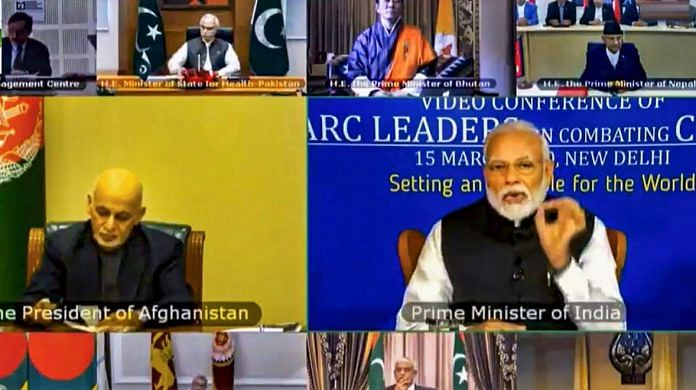 Prime Minister Narendra Modi during a video conference with SAARC leaders on chalking out a plan to combat the COVID-19 Novel Coronavirus, in New Delhi | PTI