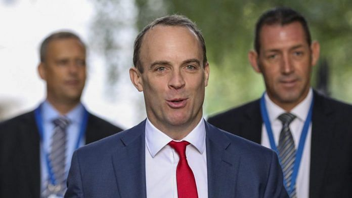 Dominic Raab arrives for a weekly meeting of cabinet ministers at number 10 Downing Street in London, U.K | Photographer: Chris Ratcliffe/Bloomberg