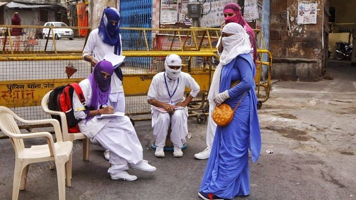 Health workers carry out a survey to track down Covid-19 cases in Ajmer during the lockdown   Praveen Jain   ThePrint