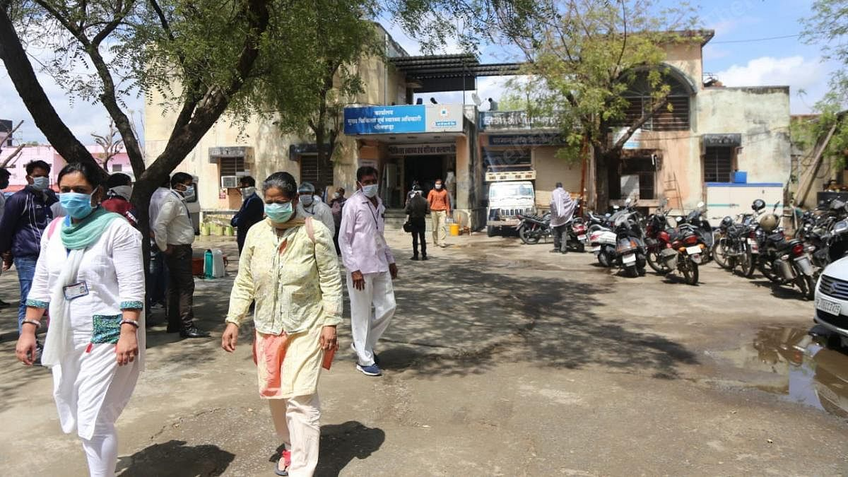 Health workers outside the district medical and health office in Bhilwara on 27 March | Photo: Manisha Mondal | ThePrint
