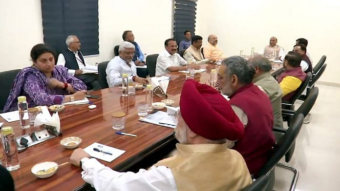 Union ministers, including Amit Shah and Smriti Irani, at a lockdown-related meeting at Defence Minister Rajnath Singh's residence Sunday