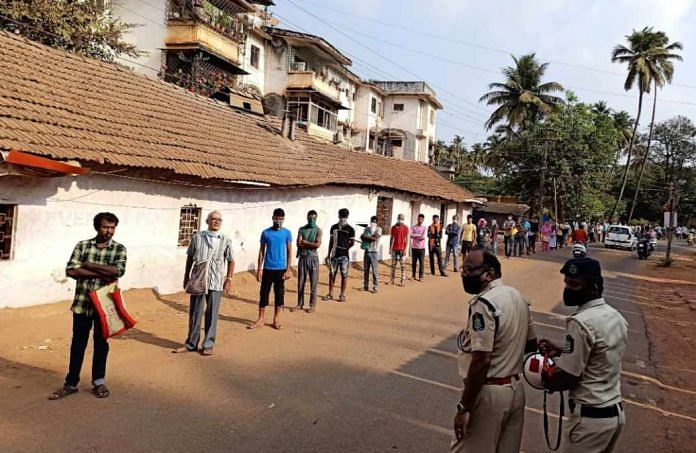Residents line up for essentials in keeping with social distancing norms in Goa | Representational image | ANI