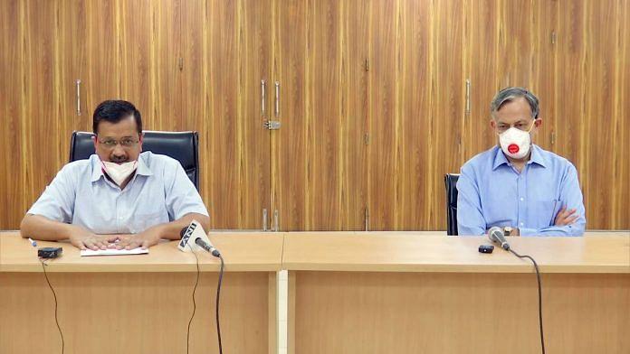 Delhi CM Arvind Kejriwal and ILBS director Dr S.K. Sarin address a digital press conference Friday | Photo: ANI