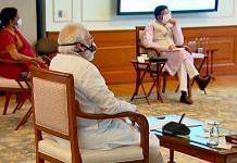 Prime Minister Narendra Modi, Finance Minister Nirmala Sitharaman and Commerce Minister Piyush Goyal at a meeting to boost investment Thursday | Photo: ANI